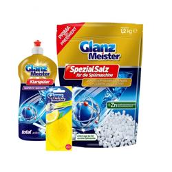 Sól do zmywarki+Nabłyszczacz+Odświeżacz Cytryna GlanzMeister - Zestaw